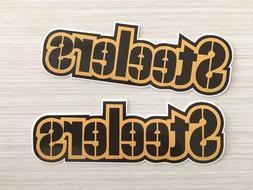 2x Pittsburgh Steelers Logo Script Car Bumper Laptop Vinyl S