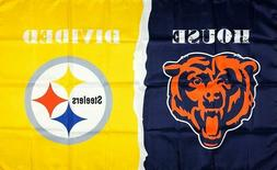 Chicago Bears vs Pittsburgh Steelers House Divided Flag 3x5