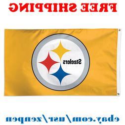 Deluxe Pittsburgh Steelers Team Logo Flag Banner 3x5 ft NFL