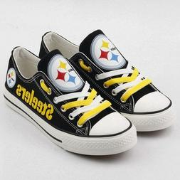 Football Men's Women Canvas Shoes Pittsburgh Steelers Sneake