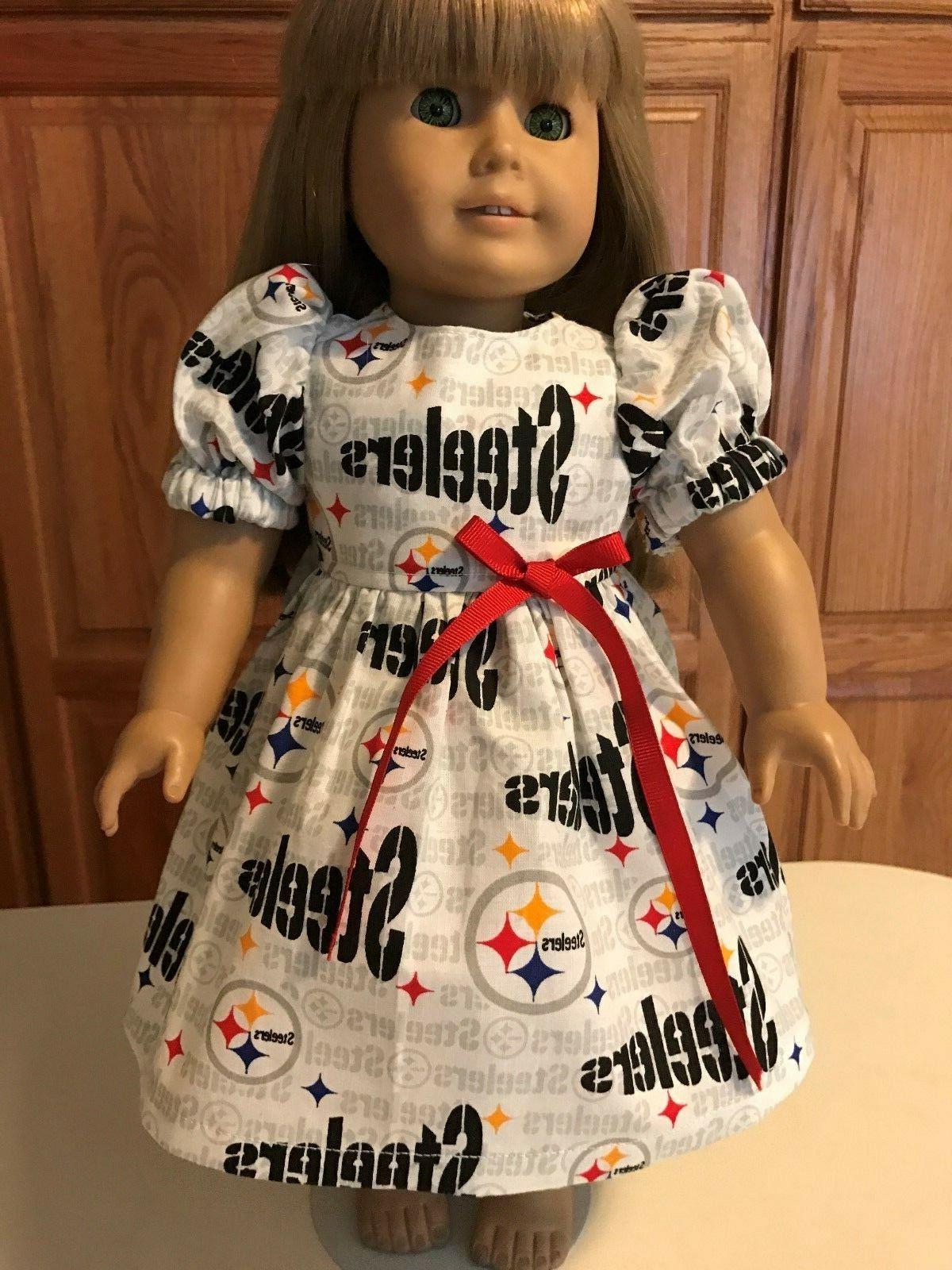 18 doll clothes dress pittsburgh steelers white