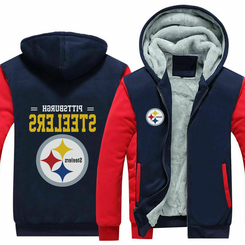 Pittsburgh Steelers Hoodie zip up Coat winter Jacket