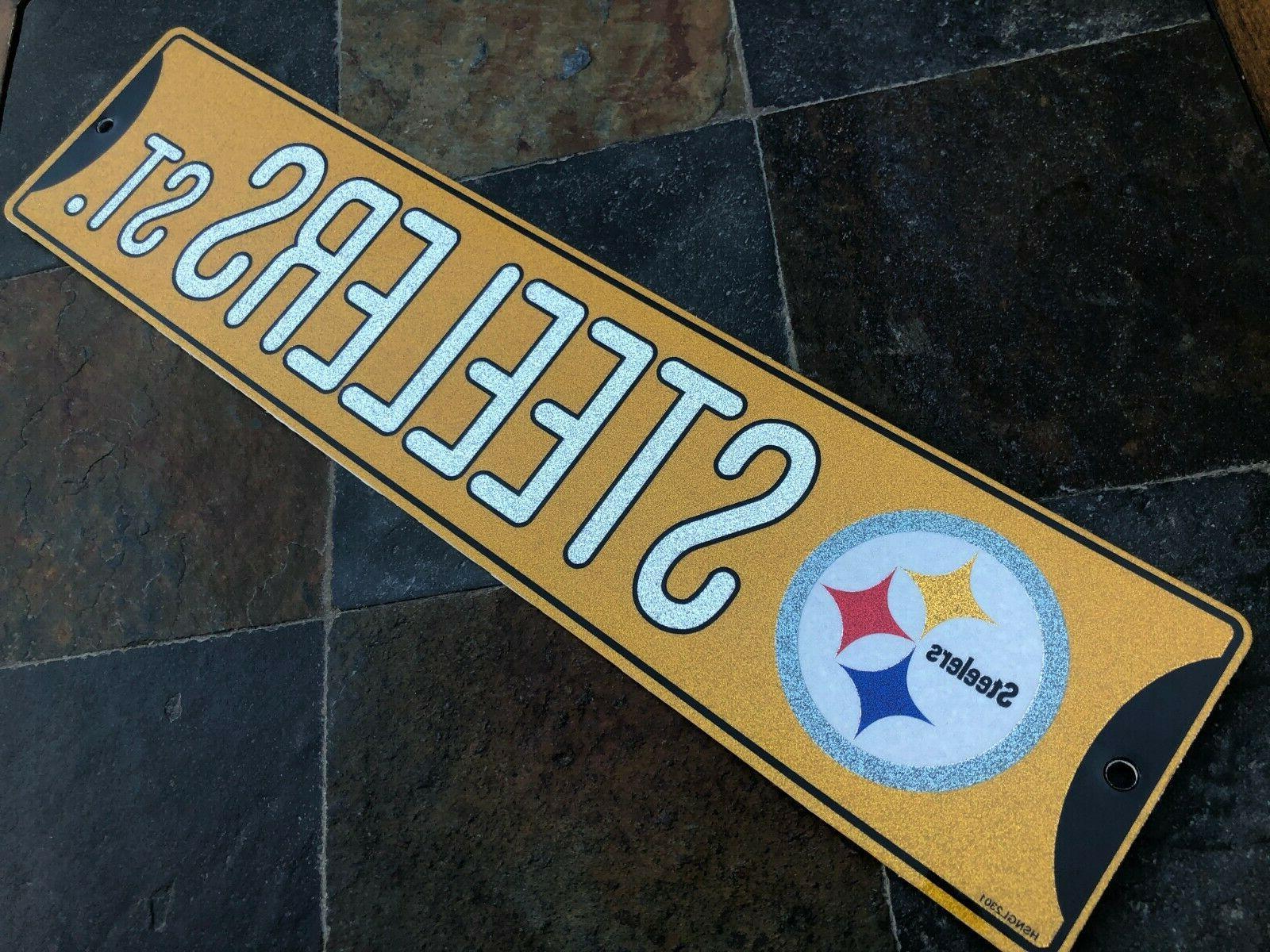 "Glitter Bling - Pittsburgh ""Steelers St."" - 16"" x 3.75"""