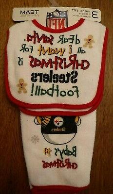 NEW 3-pc set Pittsburgh Steelers BABY'S 1st CHRISTMAS Bibs,