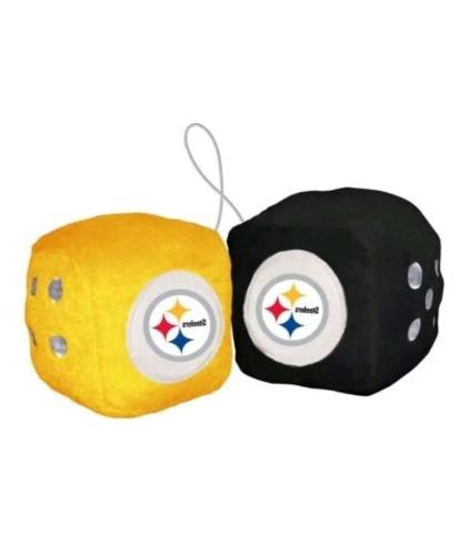 nfl pittsburgh steelers plush fuzzy dice auto