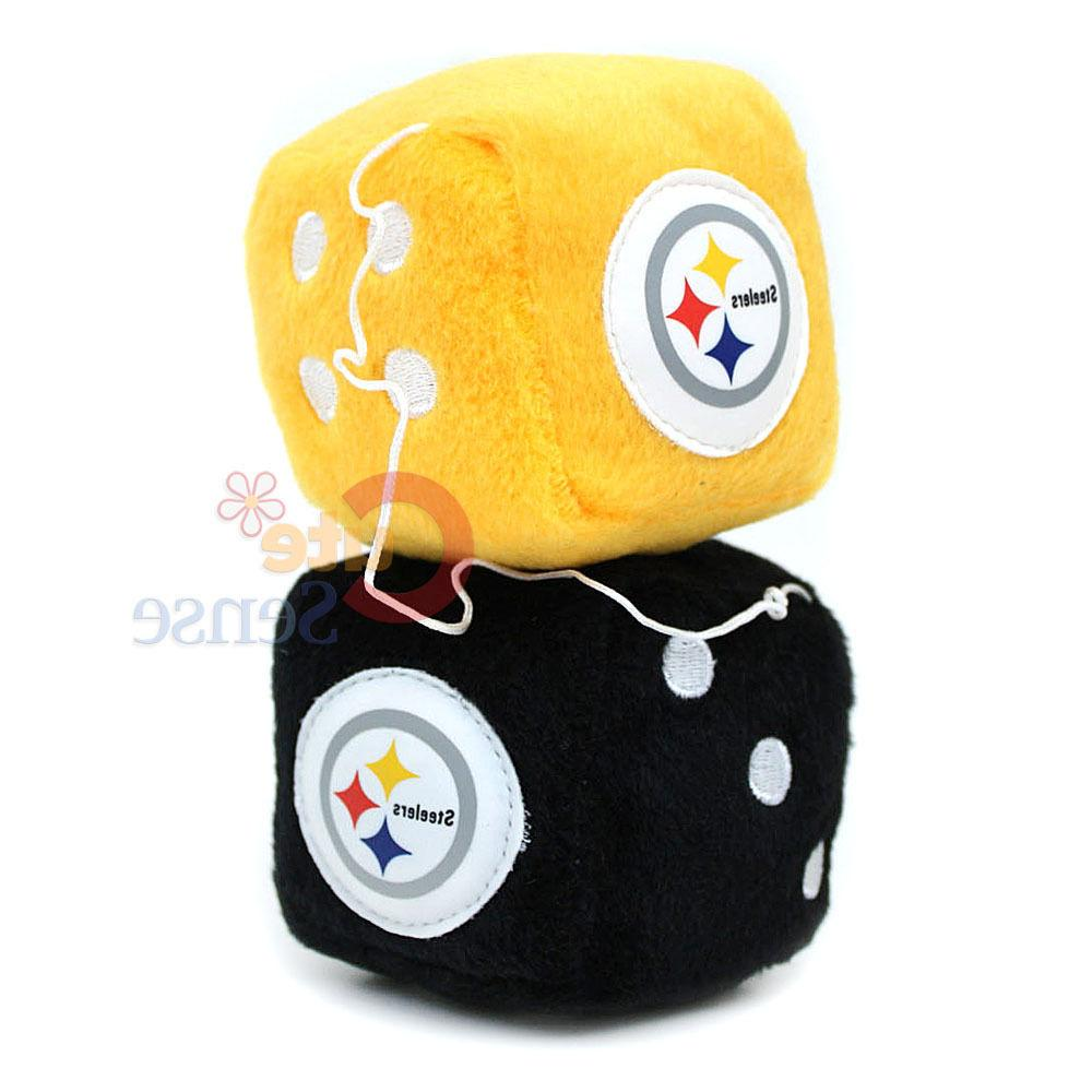 nfl pittsburgh steelers plush fuzzy dice team