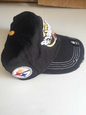 PITTSBURGH STEELERS BLACK SNAPBACK DISTRESSED CLEAN HAT NEW