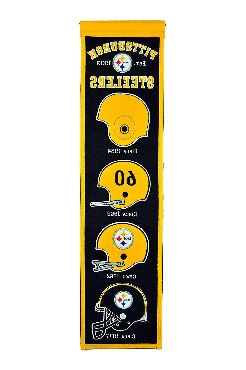 pittsburgh steelers heritage banner embroidered wool flag