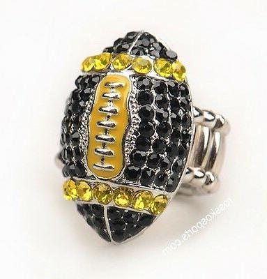 Pittsburgh Black Yellow Football Womens Girls Ring