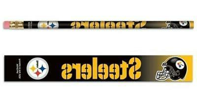 pittsburgh steelers wooden pencil 6 pack new