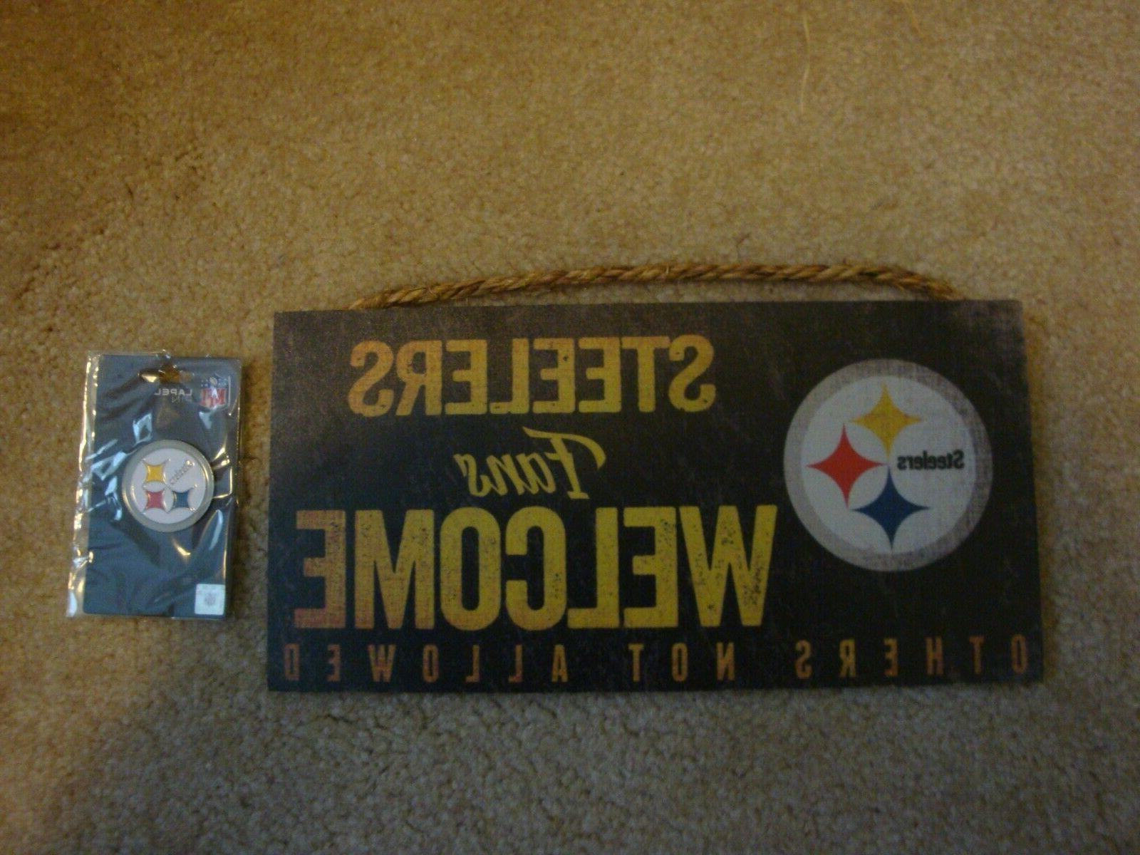 reduced steelers sign and lapel pin sports