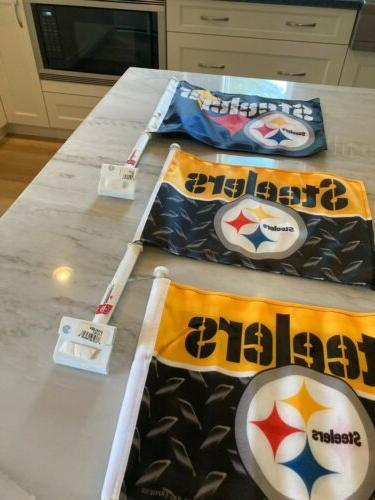 Set of 3 New Two Sided Steelers Flags Lot 3