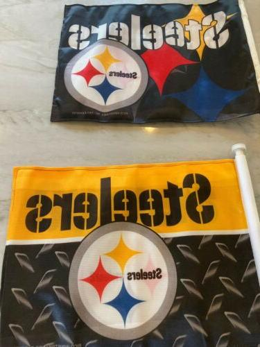 Set New Steelers Flags - Lot of 3