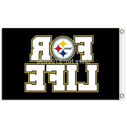 FOR LIFE Pittsburgh Steelers Flag Sport Logo Car NFL Footbal