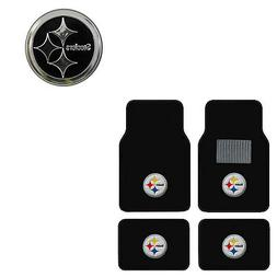New 5pc NFL Pittsburgh Steelers Car Truck Floor Mats & Chrom