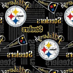 NEW NFL PITTSBURGH STEELERS BLACK COTTON FABRIC, Fabric Sold