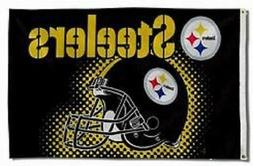 NEW Pittsburgh Steelers Flag with Helmet Large 3'X5' NFL FRE