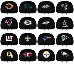 NFL Football Black Car Headrest Cover Embroidered Logo - 2 P