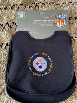 NFL Pittsburgh Steelers Baby Bib Set, 2 Pack Bibs Officially