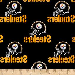 NFL PITTSBURGH STEELERS BLACK 100% COTTON FABRIC  36X23 INCH