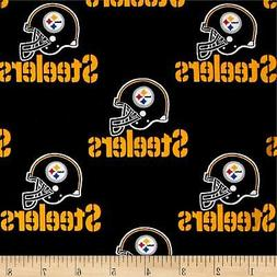 NFL PITTSBURGH STEELERS BLACK 100% COTTON FABRIC BY THE  1/4