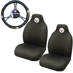 NFL Pittsburgh Steelers Car Truck 2 Front Seat Covers & Stee