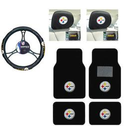 NFL Pittsburgh Steelers Car Truck Floor Mats Headrest Cover