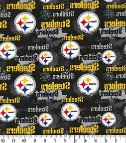NFL PITTSBURGH STEELERS  DISTRESSED  PRINT 100% COTTON FABRI
