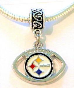 NFL Pittsburgh Steelers Football Pendant Charm for Bracelet
