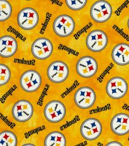 NFL PITTSBURGH STEELERS GOLD 100% COTTON FLANNEL FABRIC  BY
