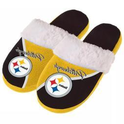 NFL  Pittsburgh Steelers Women's Cursive Colorblock Slippers