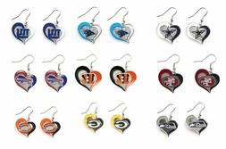 NFL Swirl Heart Team Dangle Earrings - Pick Your Team