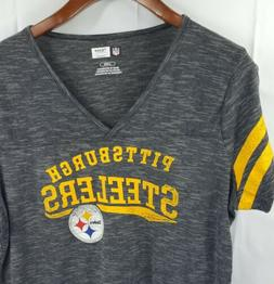 NFL Team Apparel Womens Large Pittsburgh Steelers Grey Tee S