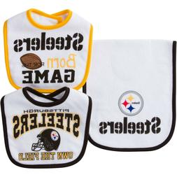 NWT NFL Pittsburgh Steelers Baby 2 Bibs and 1 Burp Cloth set
