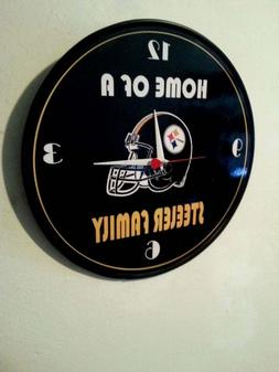 PITTSBURGH - STEELERS - 12 INCH QUARTZ WALL CLOCK FREE SIGN