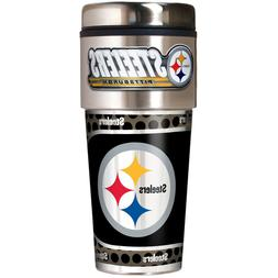 PITTSBURGH STEELERS 16 OZ STAINLESS STEEL COFFEE TRAVEL MUG