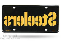 Pittsburgh Steelers 2325 BLK WRDMRK Metal License Plate Tag