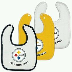 Pittsburgh Steelers 3 Pack Little Steelers Fan Baby Bibs wit