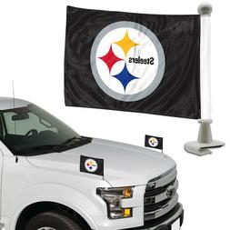 Pittsburgh Steelers Set of 2 Ambassador Style Car Flags - Tr