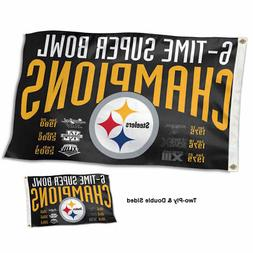 Pittsburgh Steelers 6 Time Super Bowl Champions Two Sided Fl