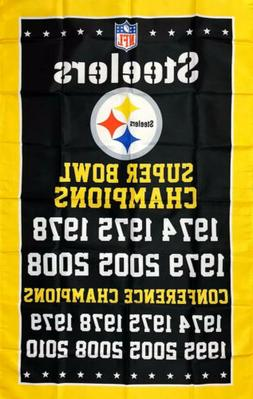 Pittsburgh Steelers 6x Super Bowl NFL Championship Flag 3x5