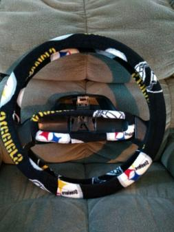 PITTSBURGH STEELERS BLACK FLEECE STEERING WHEEL COVER SET