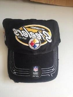 PITTSBURGH STEELERS BLACK SNAPBACK DISTRESSED CLEAN UP/DAD