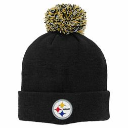 Pittsburgh Steelers NFL Boy's 8-20 Black Cuffed Knit With Po