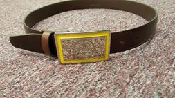 Pittsburgh Steelers Brown Leather belt Chrome Engraved Buckl