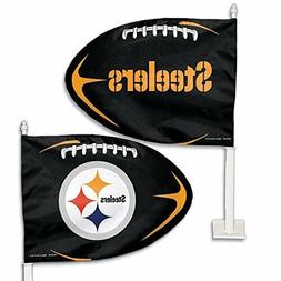 "Pittsburgh Steelers Car Window Flag 21"" Pole 15x11 Flag. 2 F"