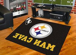 """Pittsburgh Steelers Man Cave 34""""x43"""" All-Star Area Rug Mat"""