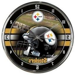 Pittsburgh Steelers Chrome Round Wall Clock  NFL Sign Banner