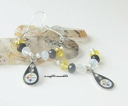 Pittsburgh Steelers Earrings Crystal Rhinestone Dangle Drop