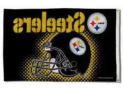 PITTSBURGH STEELERS FLAG 3'X5' NFL HELMET BANNER: FREE SHIPP